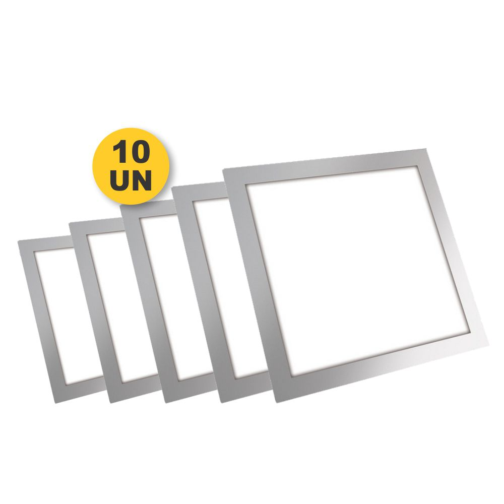 Kit 10x Plafon Painel Quadrado Led Slim 3W Branco Puro