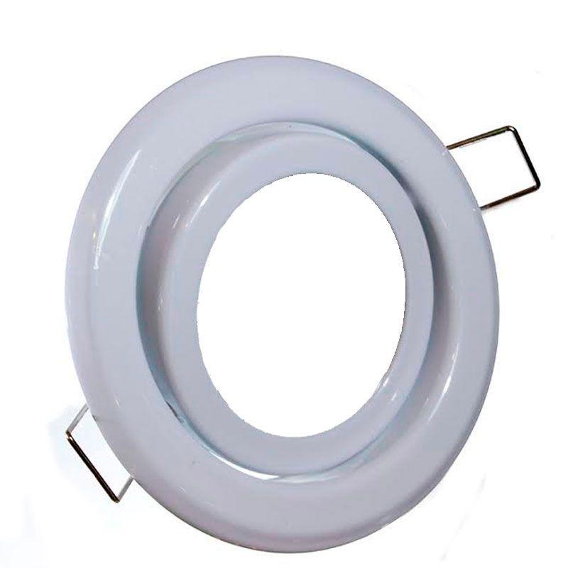 Kit 10x Spot Branco Redondo C/ Lampada Dicróica 12 LED 1W Branco Puro MR16