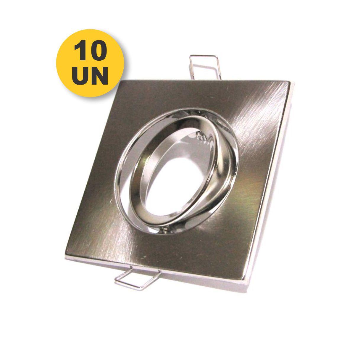 Kit 10x Spot Direcionável Quadrado Alumínio MR16 + Brinde Rabicho GU5.3