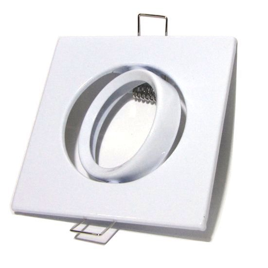 Kit 10x Spot Direcionável Quadrado Branco MR16 + Brinde Rabicho GU5.3