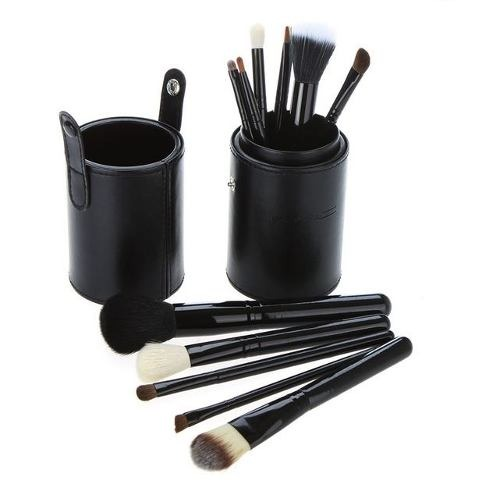 Kit 12 Pincéis Maquiagem + Copo Premium PRETO