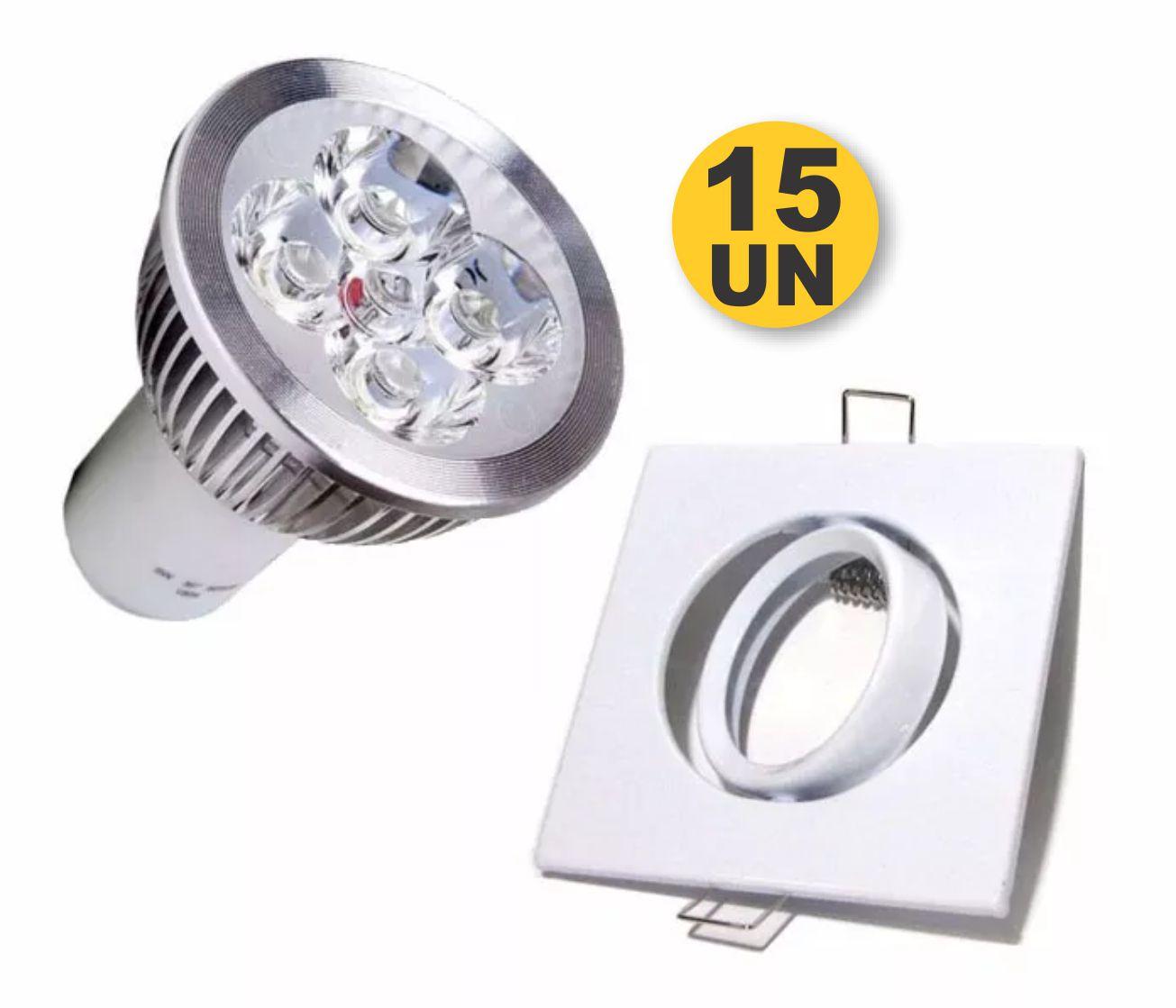 Kit 15x Spot Quadrado Branco + Lampada 5w 12V Branco Puro