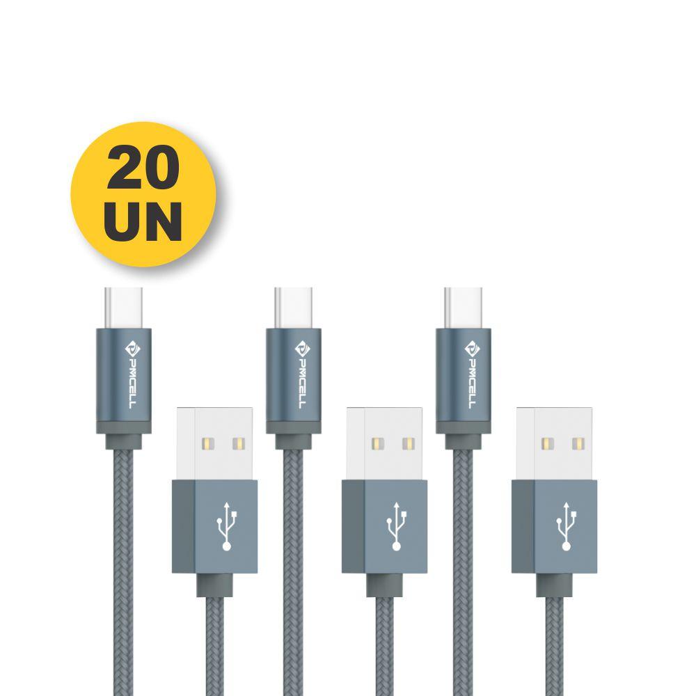 Kit 20 CABO DADOS TURBO USB | TIPO C 2M | PMCELL CROMO879 CB21
