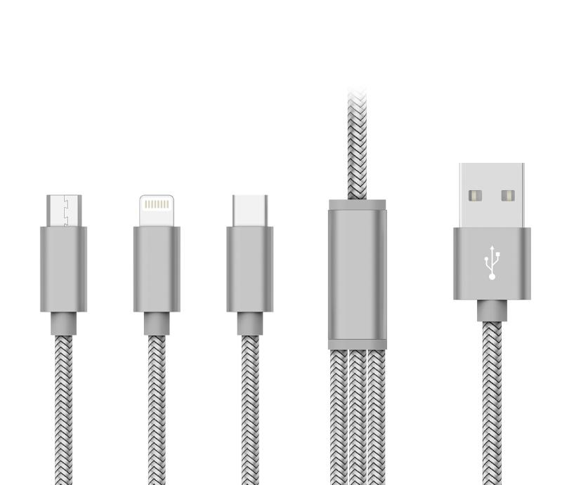 Kit 20 CABO DADOS USB 3x1 (Micro USB / Lightning / Tipo-C) - PMCELL CROMO739 CB32