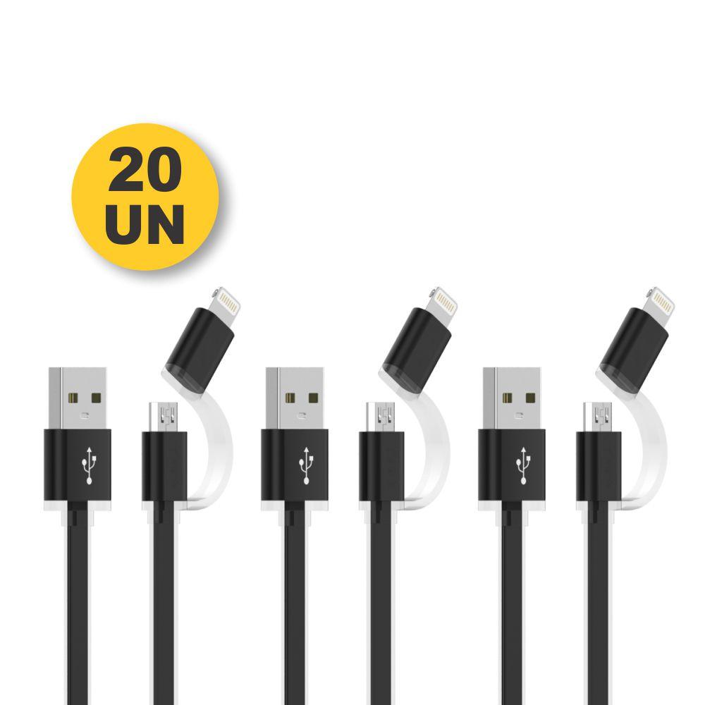 Kit 20 CABO USB IPHONE LIGHTNING + MICRO USB - PMCELL CROMO729 CB-31