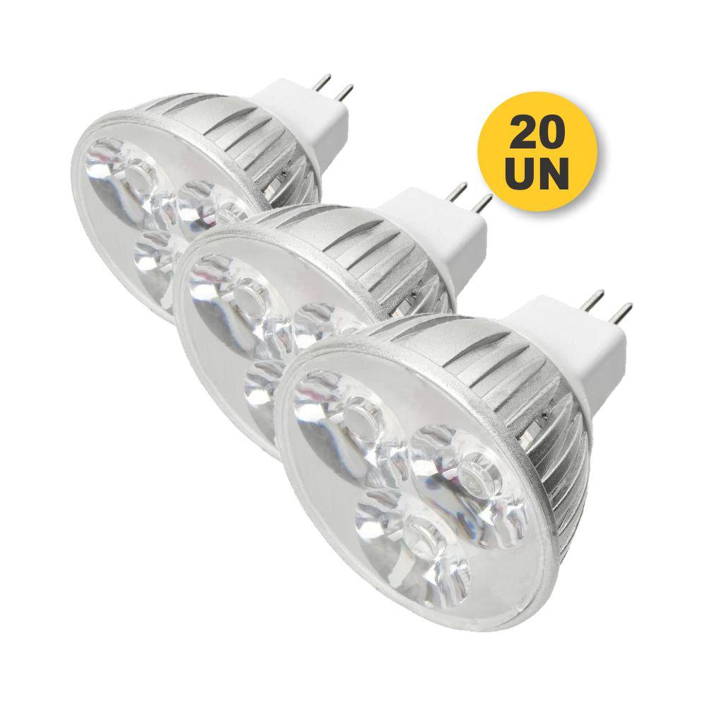 Kit 20x Lâmpada Led 3W Branco Quente MR16 GU5.3 12V Dimerizável
