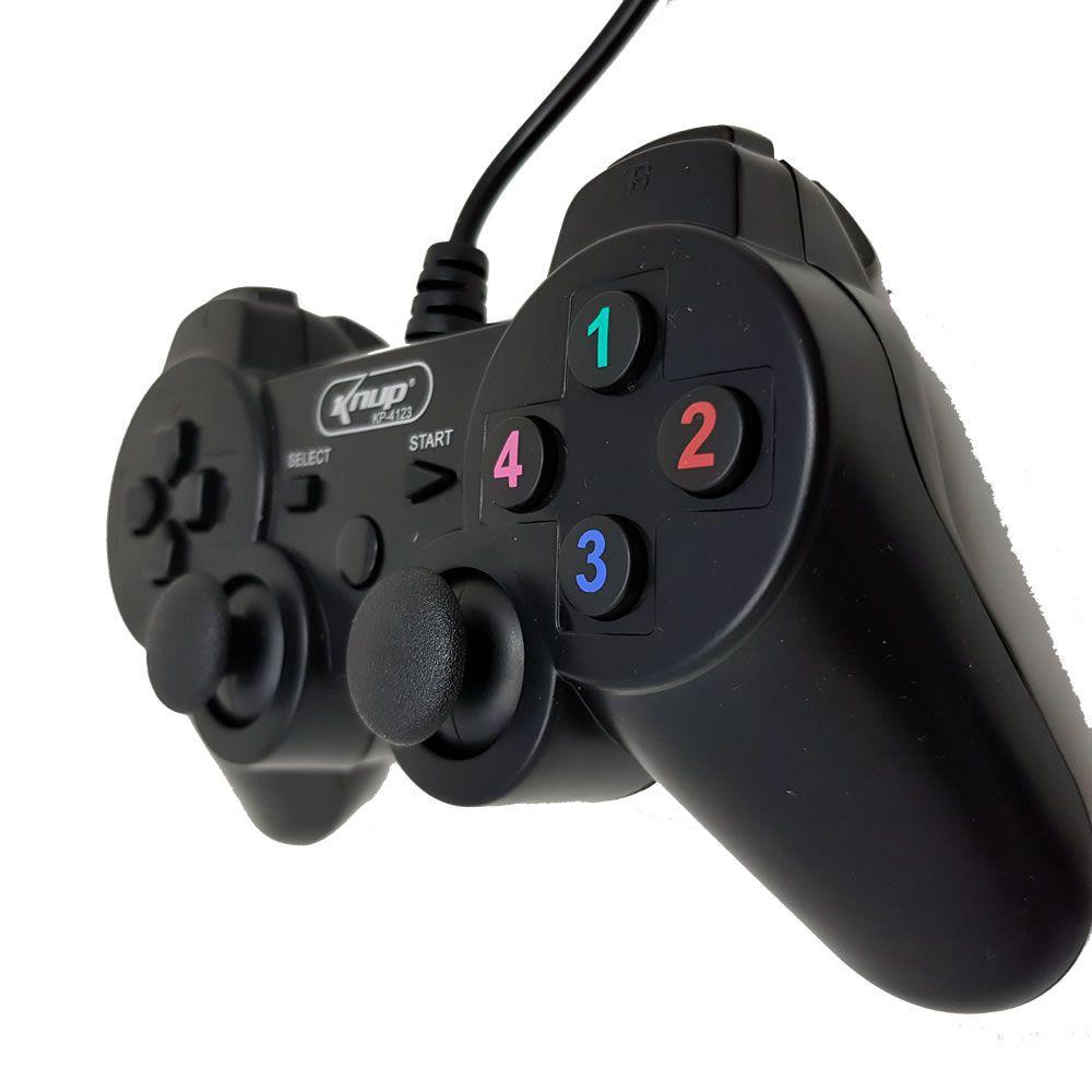 Kit 2x Controle Dualshock Usb + Mini Teclado C/ Led P/ Tv Box