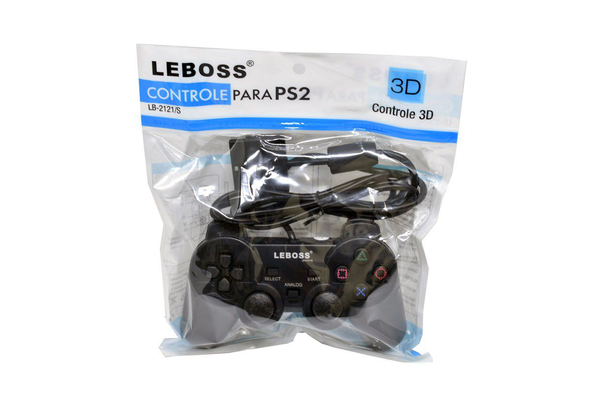 Kit 2x Controle P/ PS2 C/ Fio LEBOSS LB-2121/s