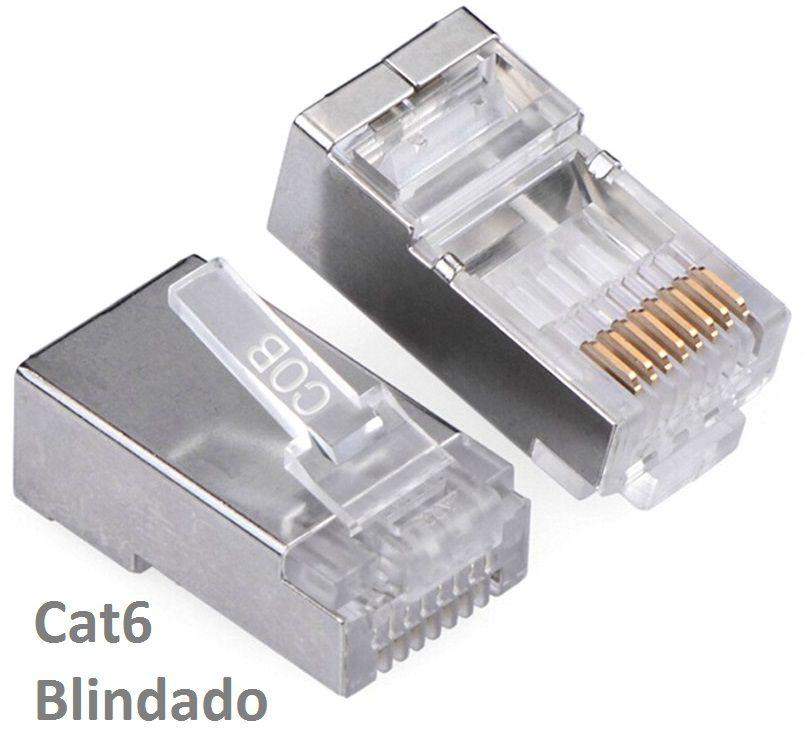 Kit 305m Cabo Rede CAT6 Vermelho + Alicate Crimpador Cat6 + 100 Conectores CAT6 Blindado