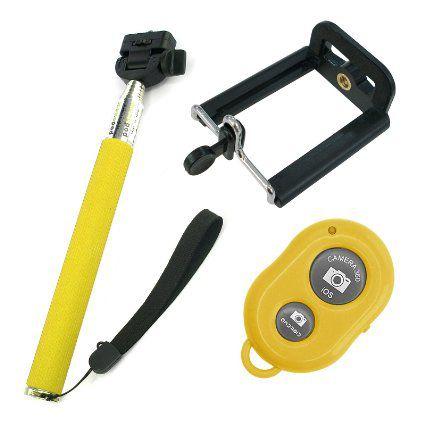 Kit 3 Bastão de Selfie Monopod c/ Controle Bluetooth 2 Verdes e 1 Amarelo