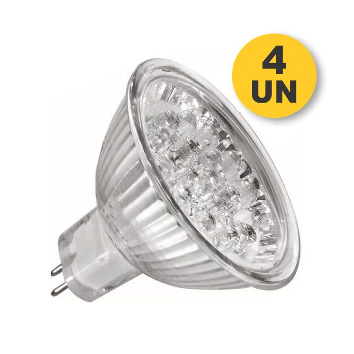 Kit 4x Lâmpada 12 LED Branco Puro MR16 GU5.3