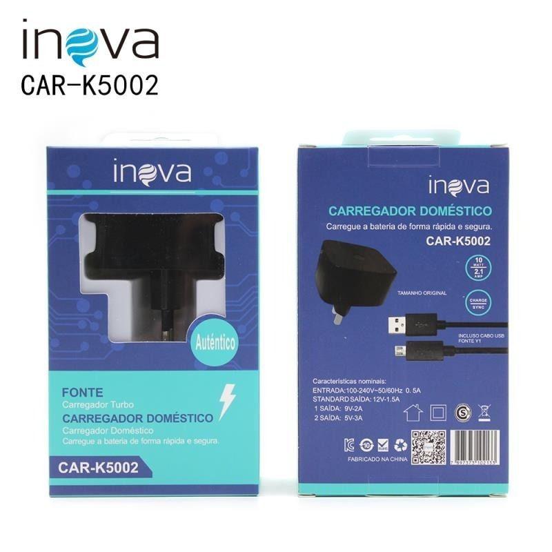 Kit 5 Carregador Inova Turbo 10w V8 + 10 CABO V8 PMCELL CB11 1M
