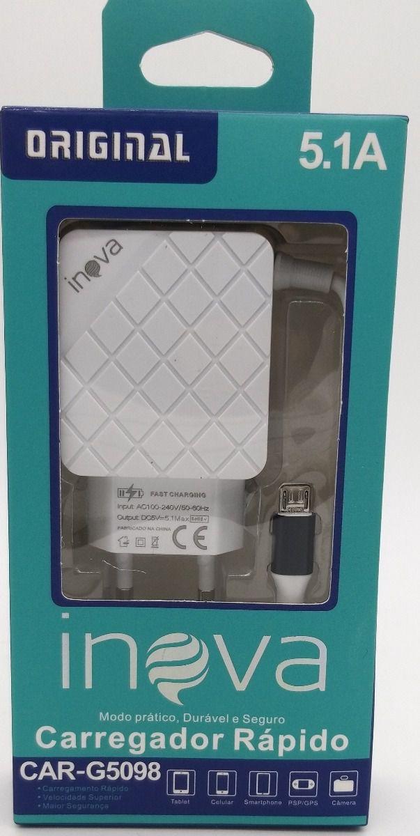 Kit 5x Carregador Rápido Inova 5.1A 3 Entradas USB C/ Cabo V8 Embutido CAR-G5098