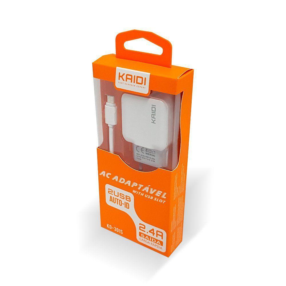 Kit 5x Carregador Tomada Celular 2x USB 2.4A - KAIDI KD301