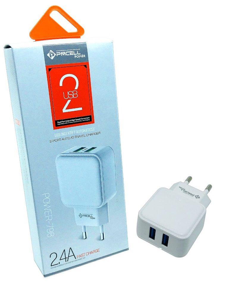Kit 5x CARREGADOR TOMADA CELULAR 2x USB 2.4A - PMCELL POWER798 HC22