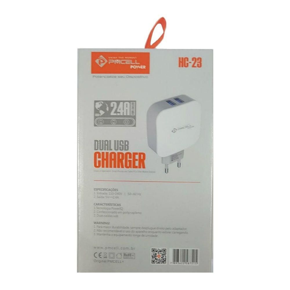 Kit 5x CARREGADOR TOMADA CELULAR 2x USB 2.4A - PMCELL POWER798 HC23