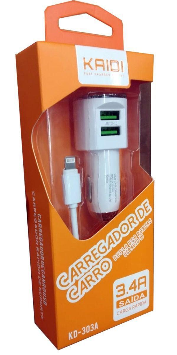 Kit 5x Carregador Veicular Turbo 2x USB 3.4a Kaidi KD303a C/ Cabo Lightning