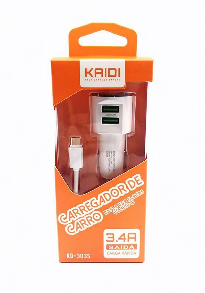 Kit 5x Carregador Veicular Turbo 2x USB 3.4a Kaidi KD303c C/ Cabo Tipo-C