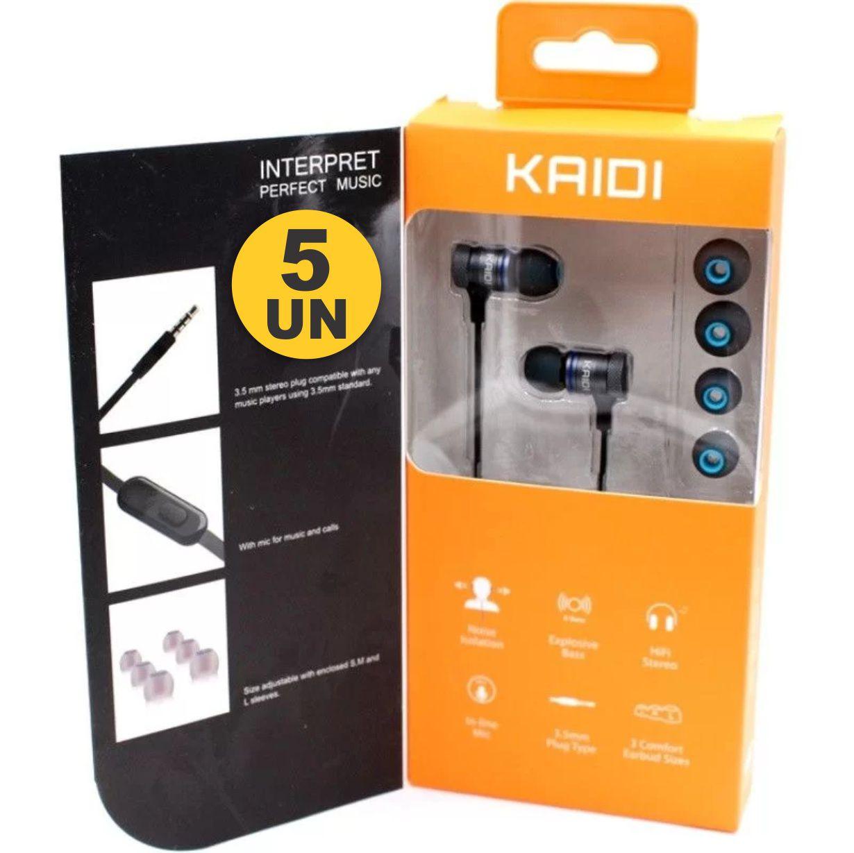 Kit 5x Fone de Ouvido Intra-Auricular P2 Kaidi KD100