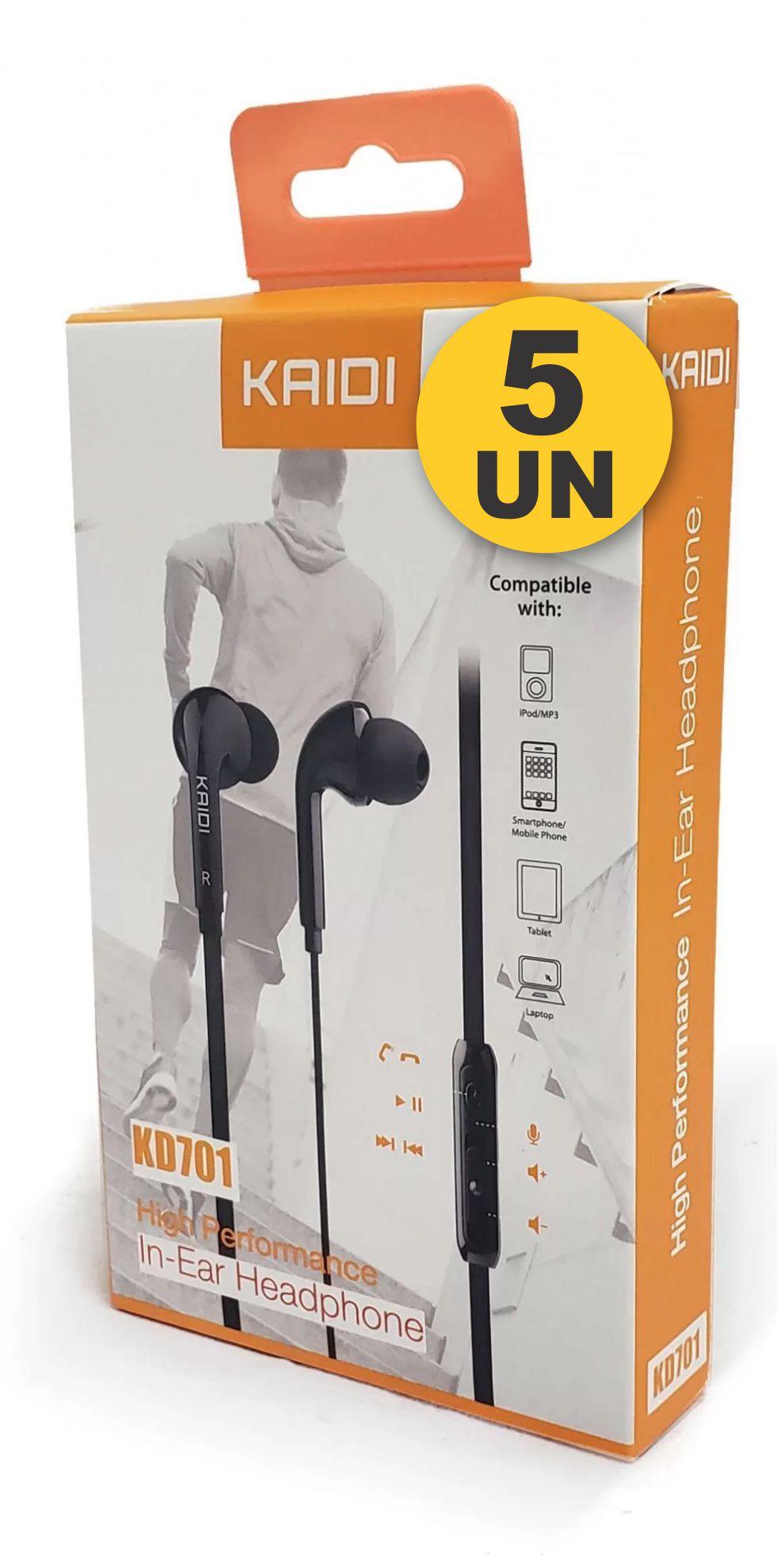Kit 5x Fone de Ouvido Intra-Auricular P2 Kaidi KD701