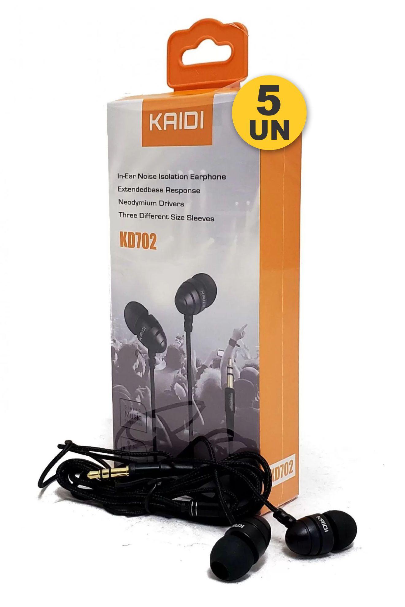 Kit 5x Fone de Ouvido Intra-Auricular Stereo Music P2 Kaidi KD702