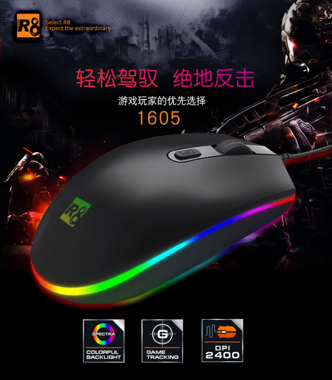 Kit 5x Mouse Gamer LED RGB R8 M1605