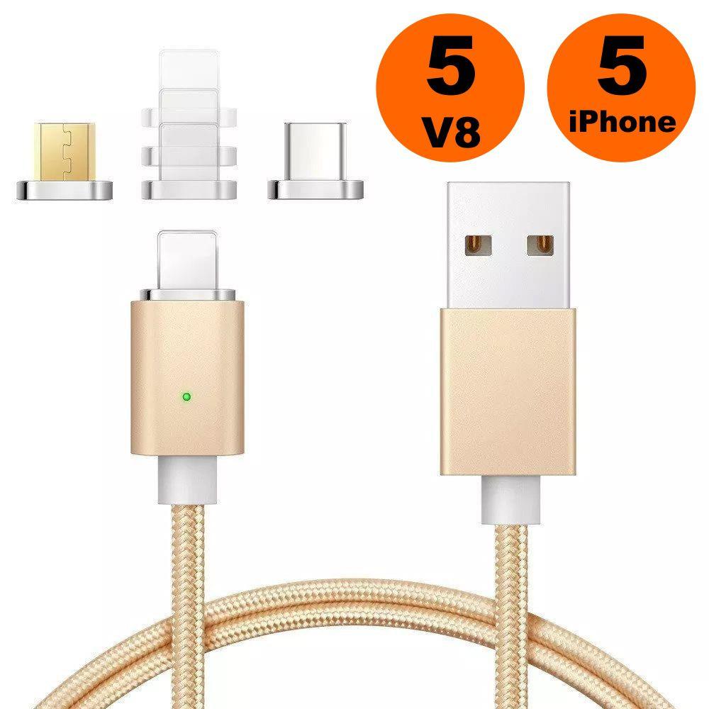 Kit Atacado 10 Cabos de Dados Conector Magnético 5 iPhone e 5 Lightning