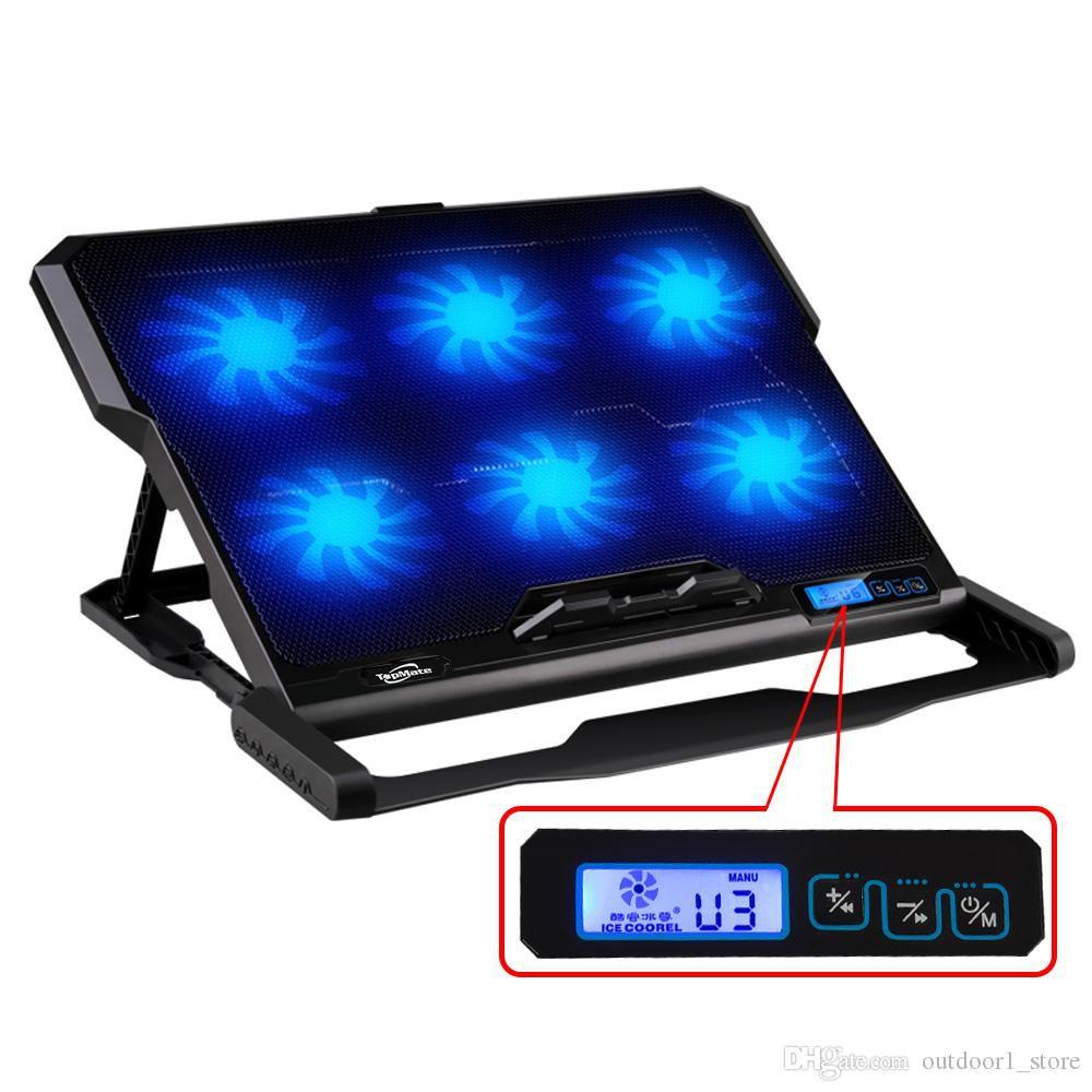 Kit Base Cooler c/ LCD 6 Cooler Led + Mini Teclado Wireless Usb Pc Tv Box Touch c/ Led