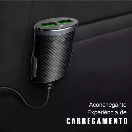 Kit Carregador Veicular Extensor 5.1A 4x USB Uber Taxi PMCELL MAXX CV-42 + Suporte Veicular para Smartphone Inova SPO-7188
