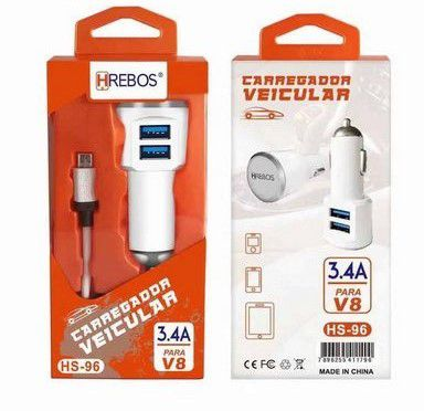 Kit Carregador Veicular Turbo 3.4 A - Dual USB + Cabo Turbo V8 HS-96