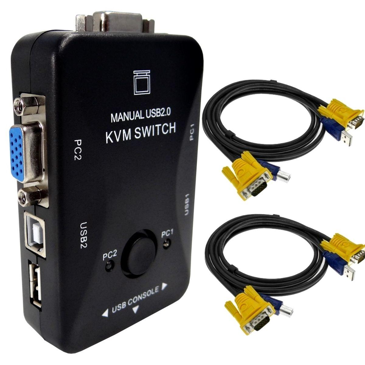 KIT CHAVEADOR KVM (VGA+USB) + 2 CABOS