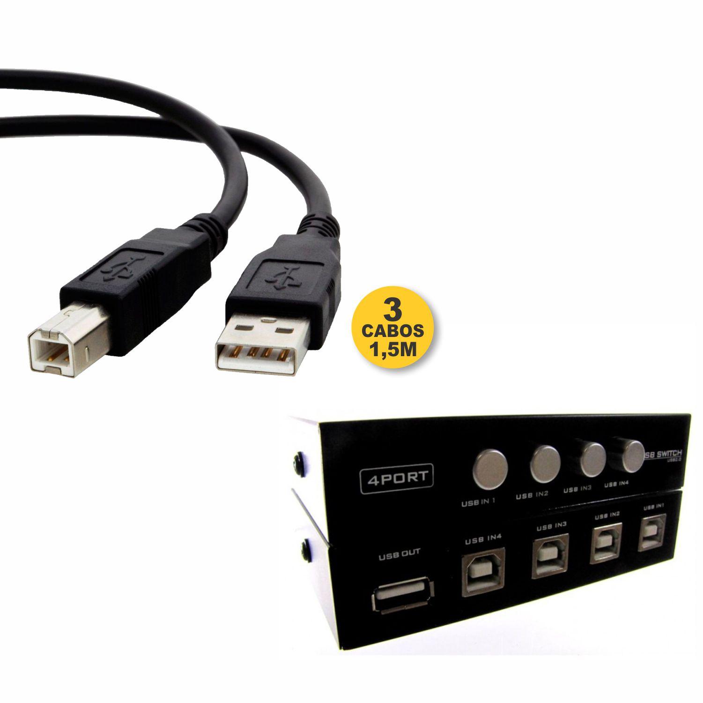 Kit Chaveador USB 4 Portas + Cabo USB 2.0 AMxBM 1,5M
