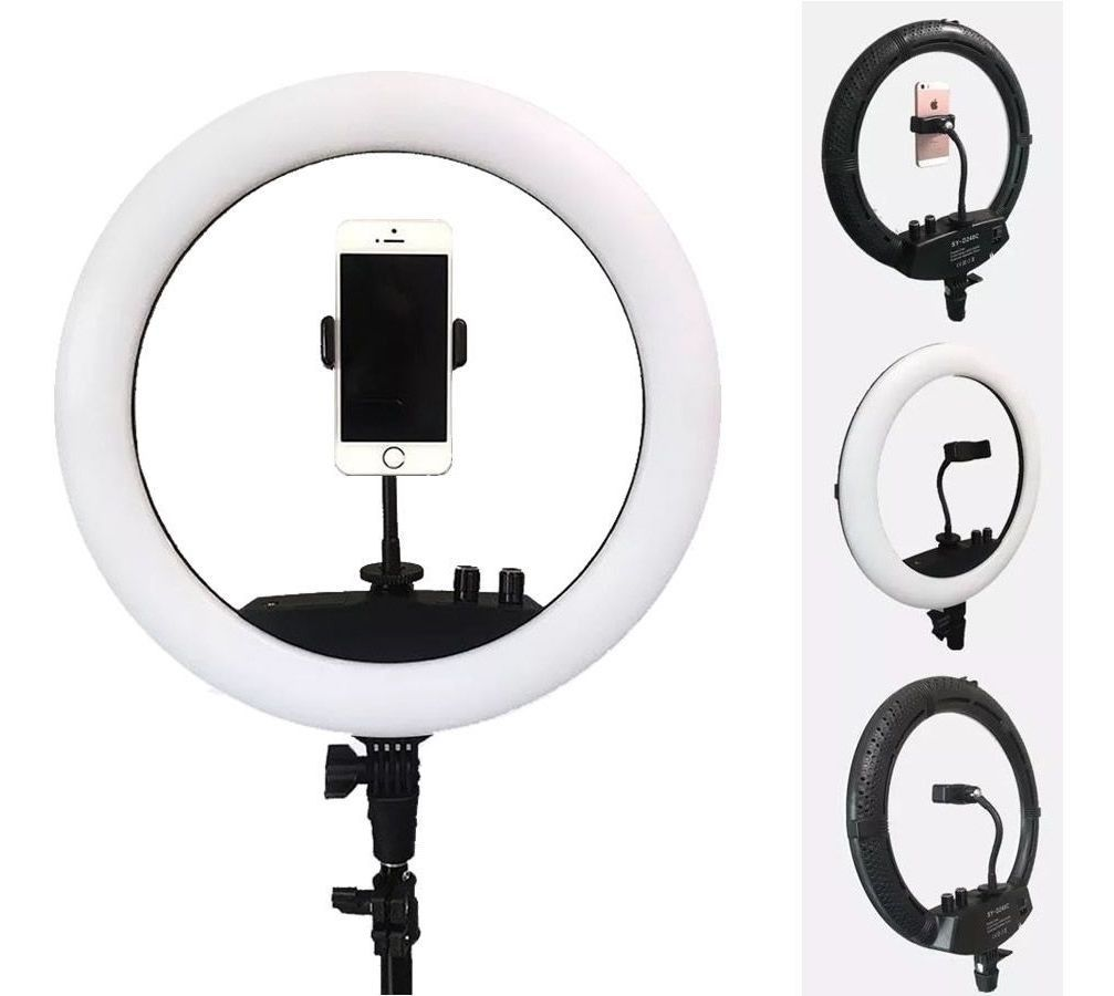 "Kit Completo Ring Light 12"" Com Tripé Dimmer Youtuber Selfie"