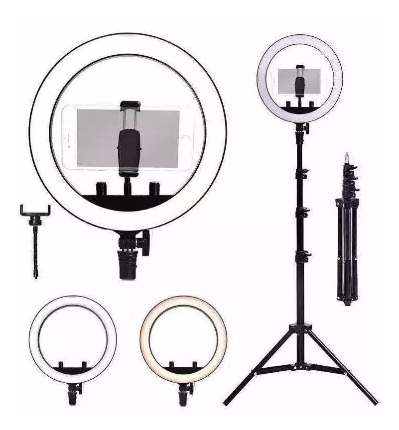 "Kit Completo Ring Light 10"" Com Tripé Dimmer Youtuber Selfie"