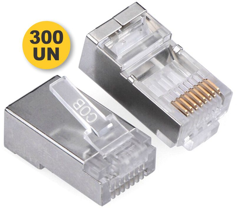 Kit Conector Blindado CAT6 RJ45 (300 unidades)