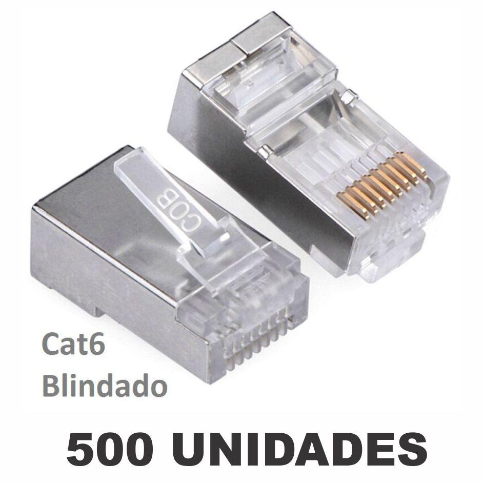 Kit Conector Blindado CAT6 RJ45 (500 unidades)