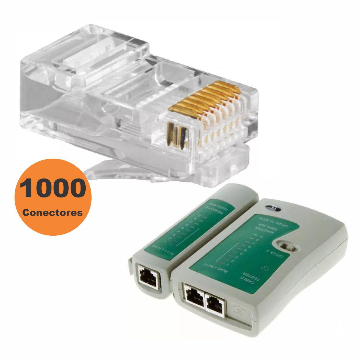 Kit Conector Rj45 Pacote 1000 Unid + Testador de Cabo de Rede