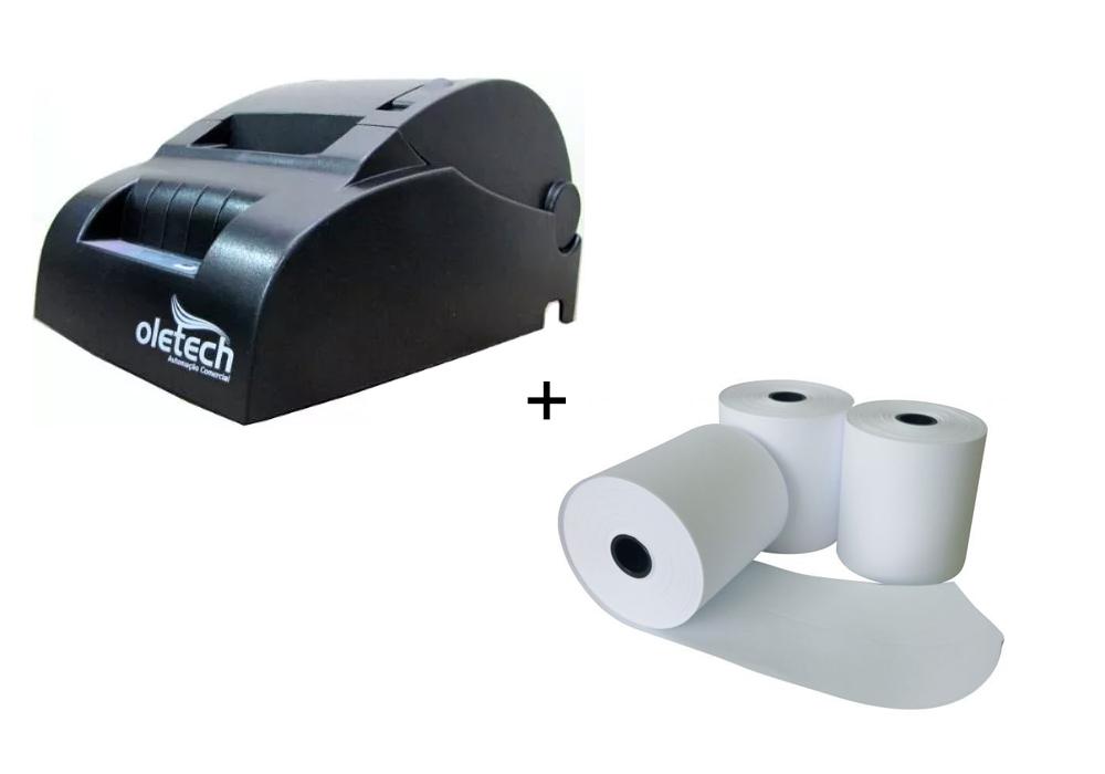 KIT Impressora Térmica 57mm Oletech OT100 USB + 10X Bobina 57x30mm