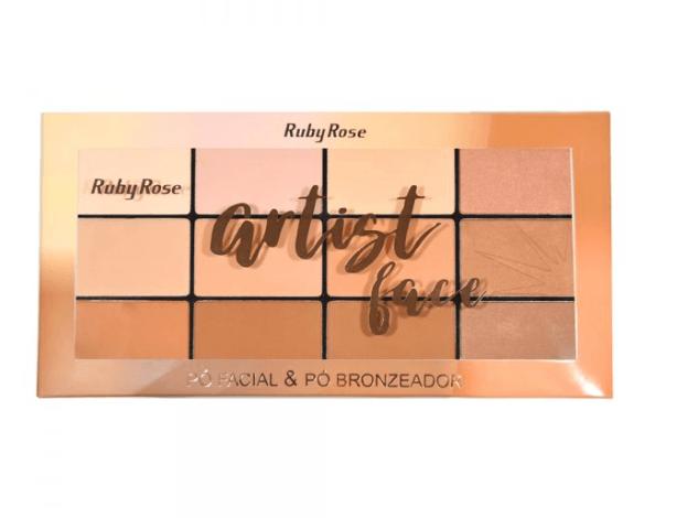 Kit Maleta Prata + 32 Pincéis com Estojo Premium + Kit Maquiagem Completa Ruby Rose (Paleta Sombra Pó facial bronzeador Iluminador Contorno)