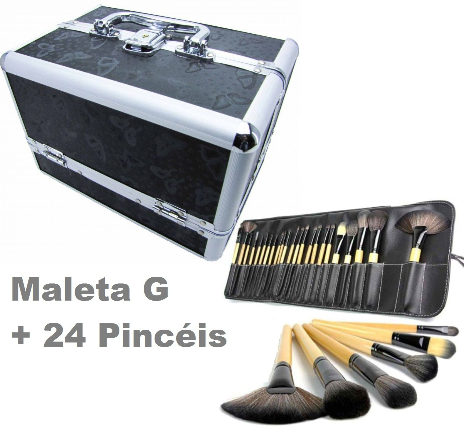 Kit Maleta Preta Maquiagem Grande Profissional + 24 Pincéis