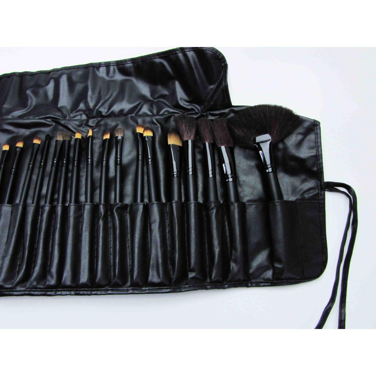 Kit Maleta Preta Maquiagem Grande Profissional + 32 Pincéis