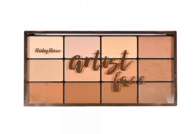 Kit Maleta Preta + Paleta Ruby Rose Pó Facial E Bronzeador Artist Face HB 7218
