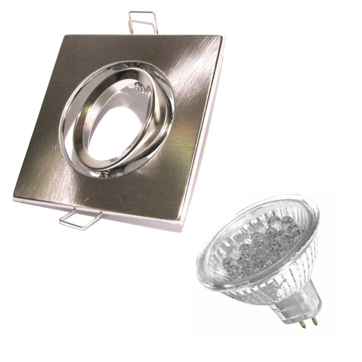 Kit Spot Quadrado Prata + Lâmpada 12 LED Branco Puro 110v MR16