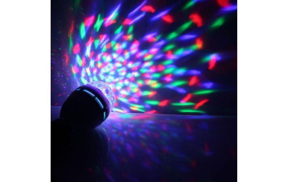 Lâmpada Led Full Color Rotating Chuva De Luzes Coloridas