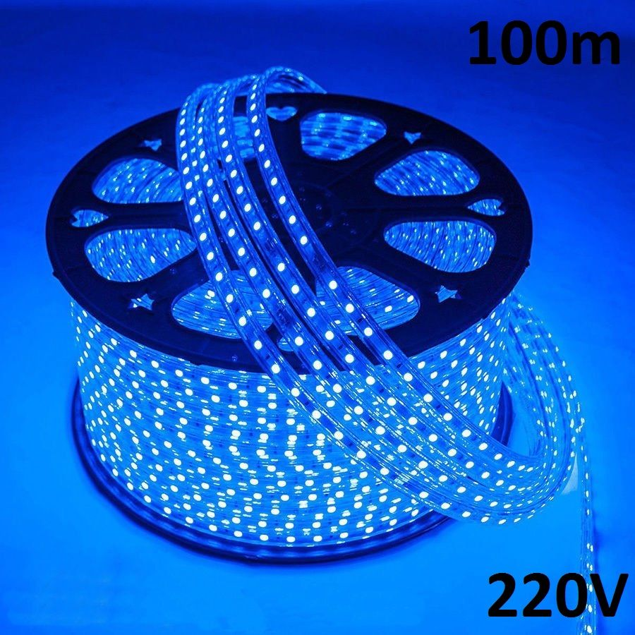 Mangueira led SMD 5050 Prova D água 220V (5W, 60led/m) Azul (100m)