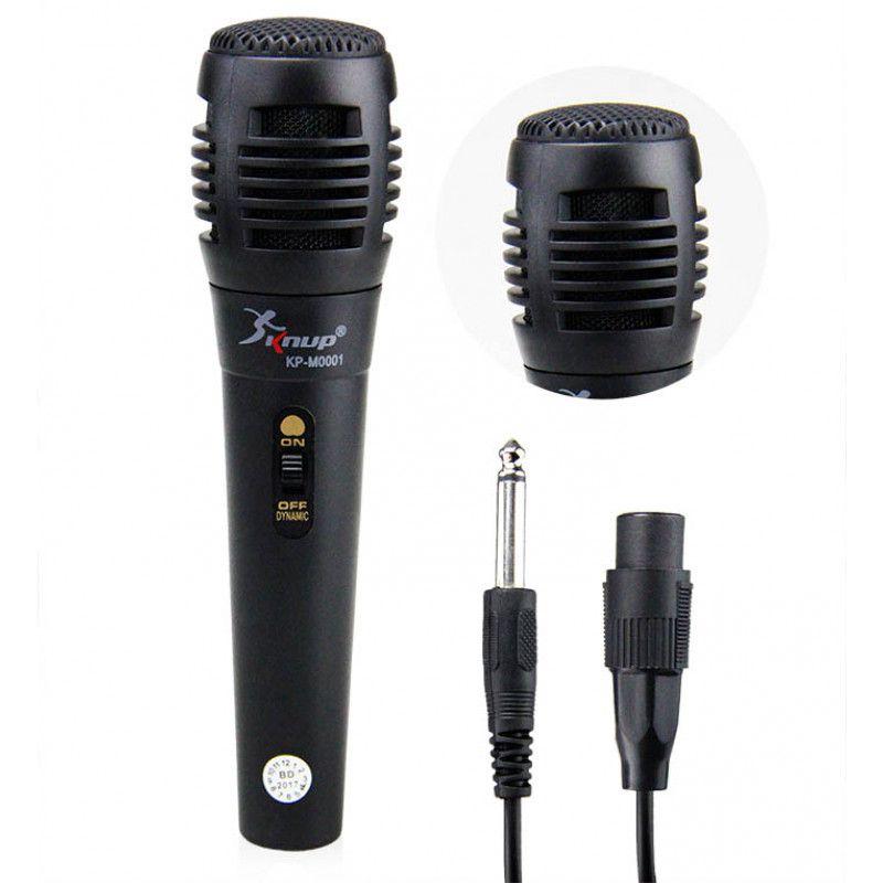 Microfone C/ Fio 40cm Preto Knup KP-M0001