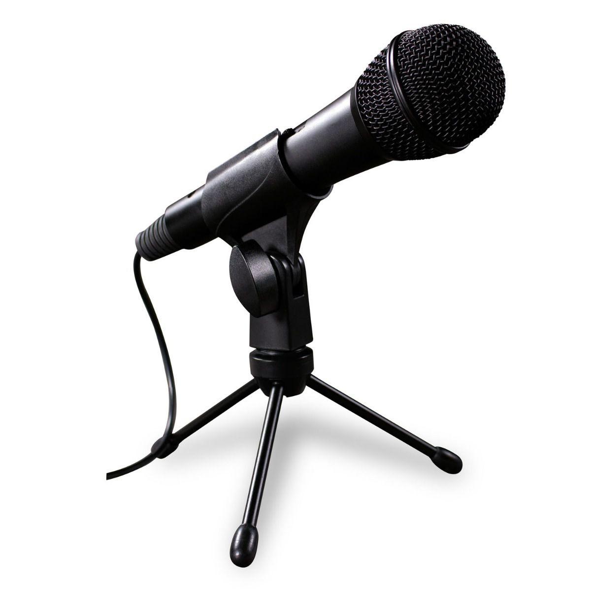 Microfone C/ Fio Com Tripe Para Mesa Cabo P2 Knup KP-918