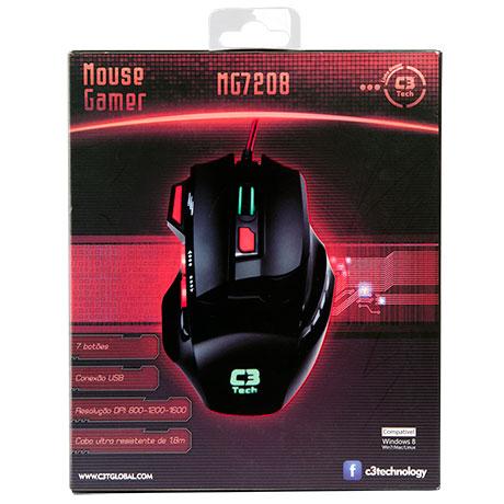 Mouse C3 Tech MG7208BK Gaming Óptico 1600DPI - Preto