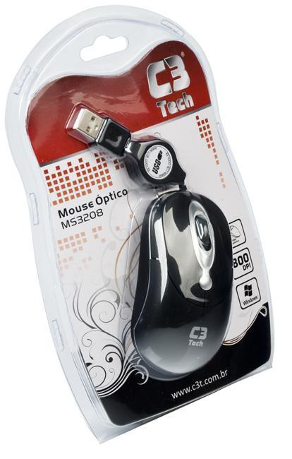 Mouse C3 Tech Mini MS3208 USB Retrátil - Preto/Prata