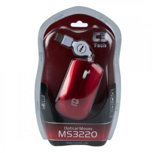 Mouse C3 Tech MS3220-2RD USB Retrátil - Vermelho